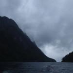 Mørke skyer over Bandak fra morgen til kveld - hele helga. Var det en av årsaken til den manglende fangsten?