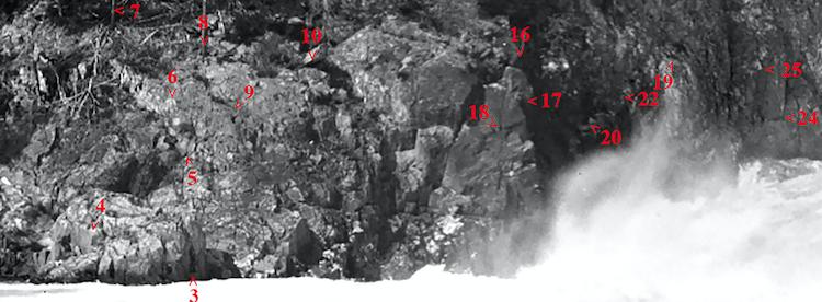 Ved hjelp av nummererte punkter i fjellet har fotograf gått gjennom en rekke gamle og nye bilder for å dokumentere Statkraft sin senkingen av vannspeilet i Helveteshylen